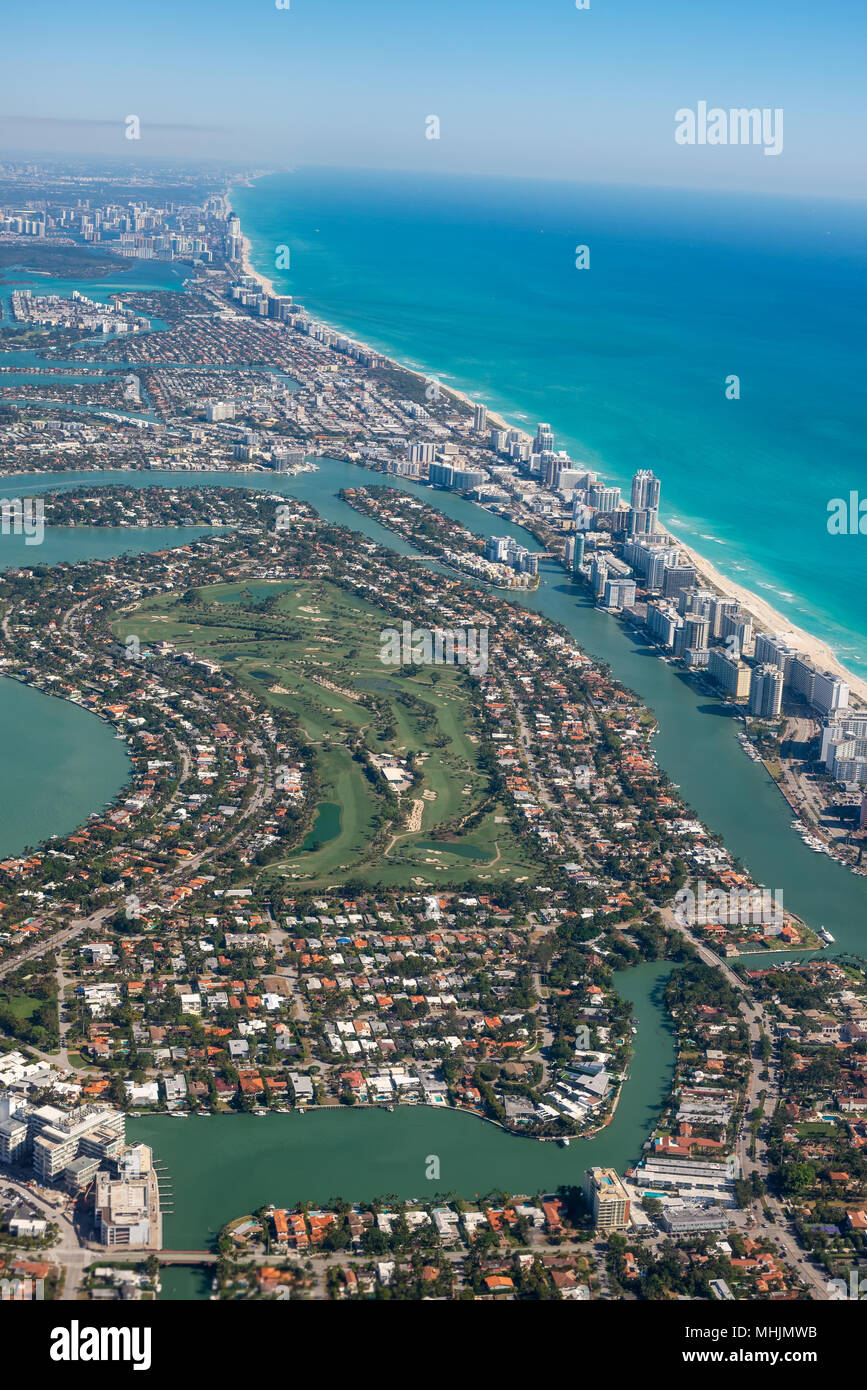 Aerial view of a Miami, Florida. - Stock Image