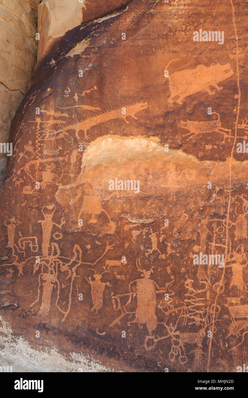 rochester panel petroglyphs near emery, utah - Stock Image