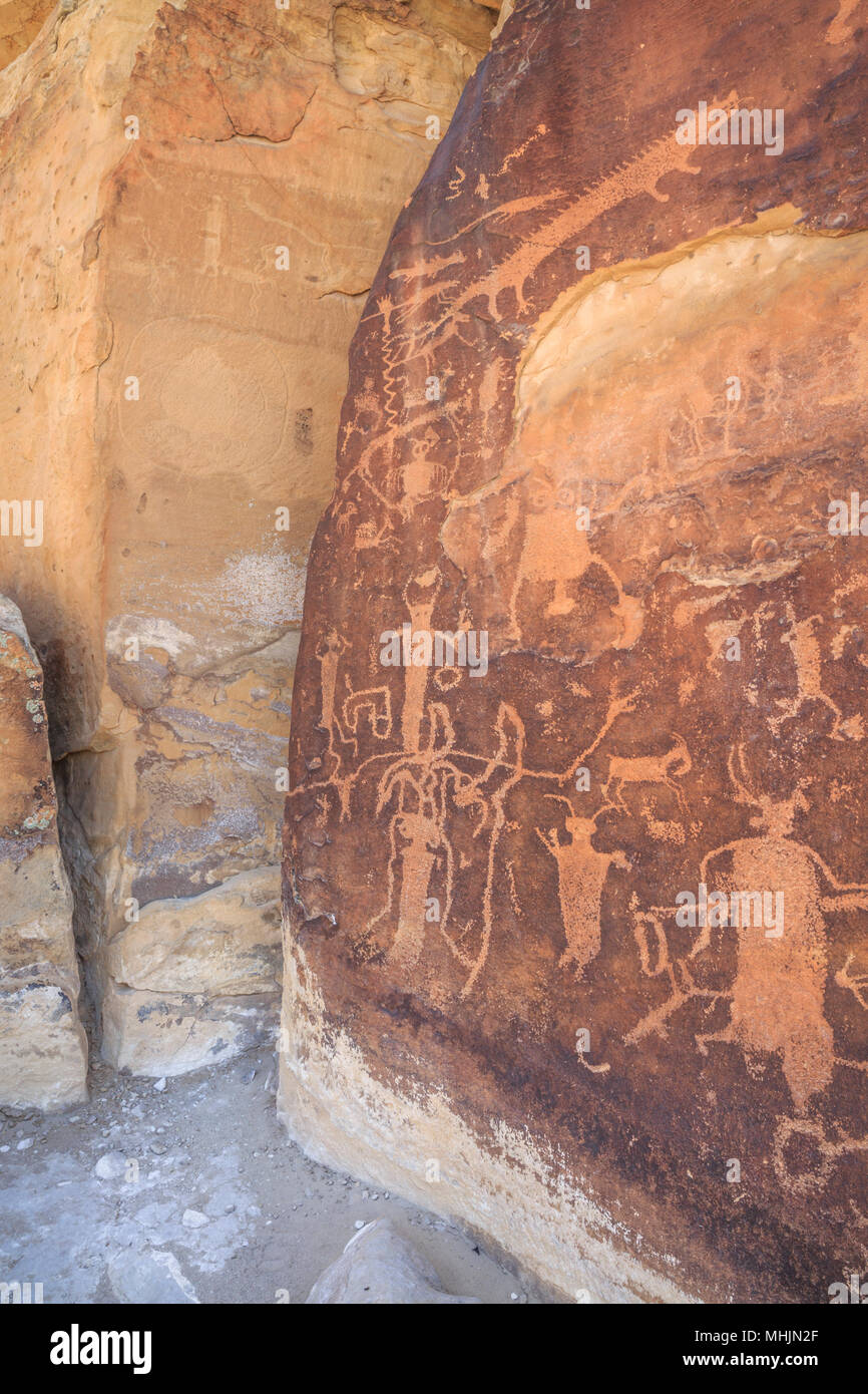 rochester panel petroglyphs near emery, utah - Stock Image