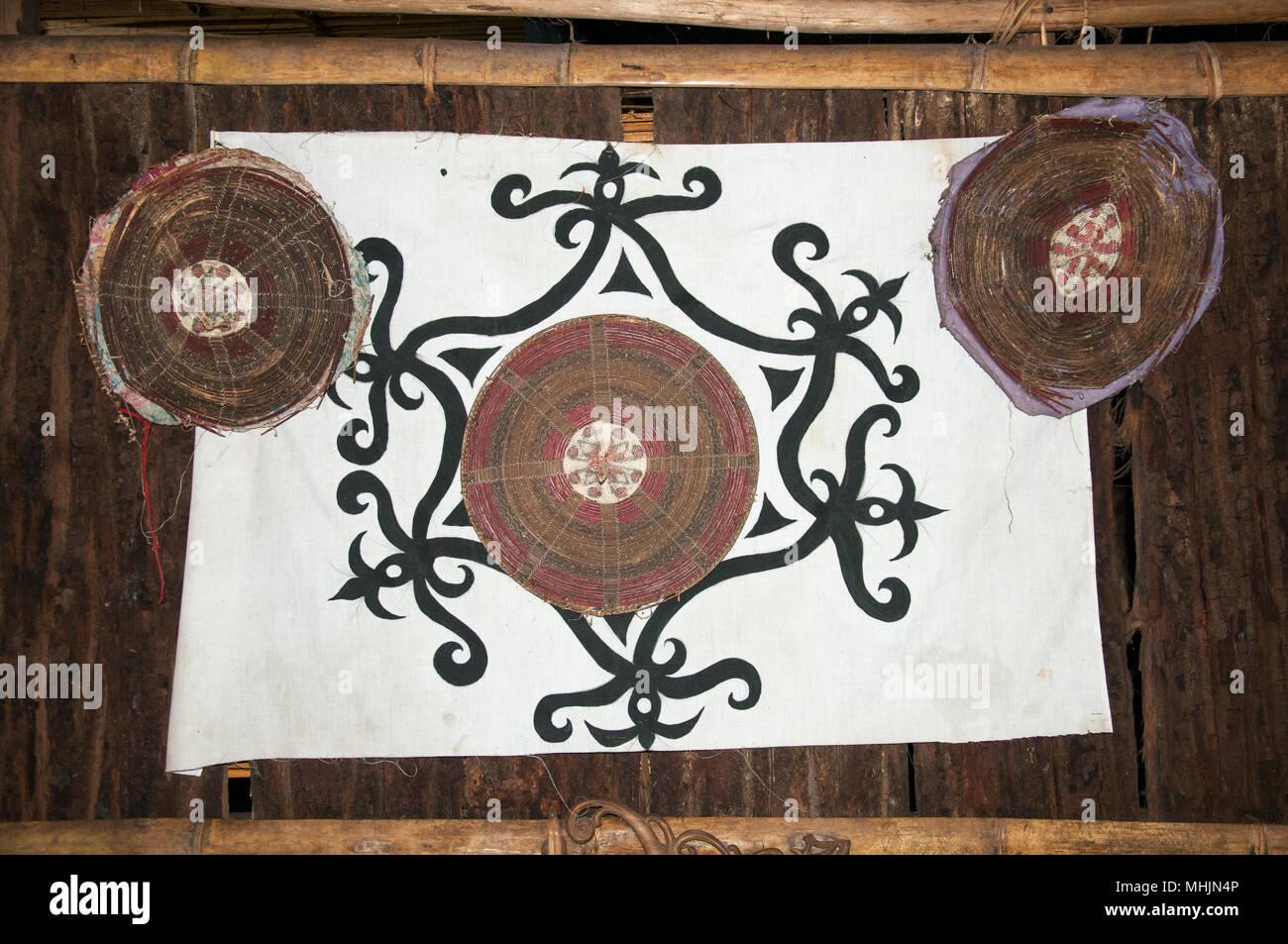 Crafts displayed at the Lundayeh House at Mari Mari Cultural Village, Kota Kinabalu, Sabah, Malaysian Borneo - Stock Image