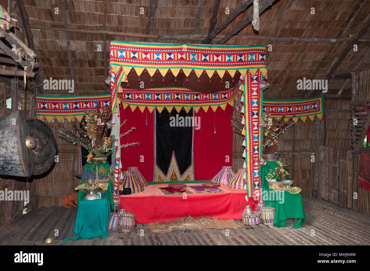 Wedding chamber at a Bajau House at the Mari Mari Cultural Village, Kota Kinabalu, Sabah, Malaysian Borneo - Stock Image