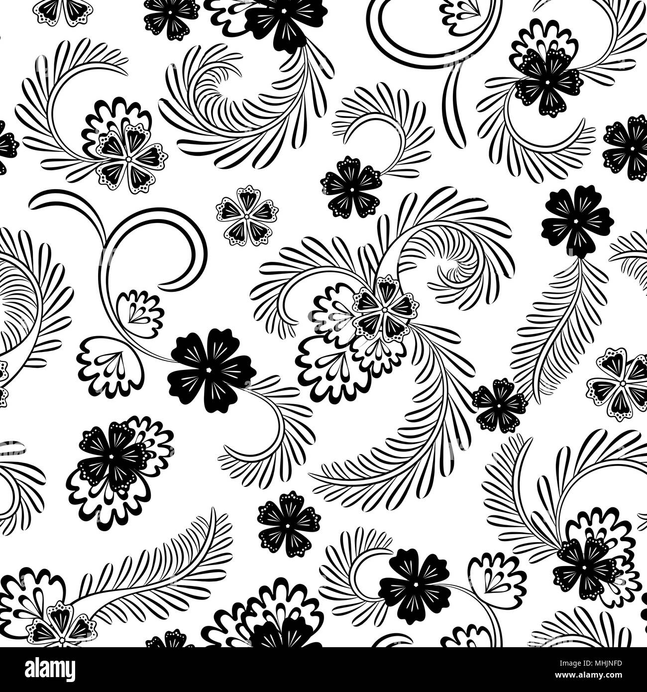 Vintage seamless black and white floral pattern on a black background vector illustration one color print