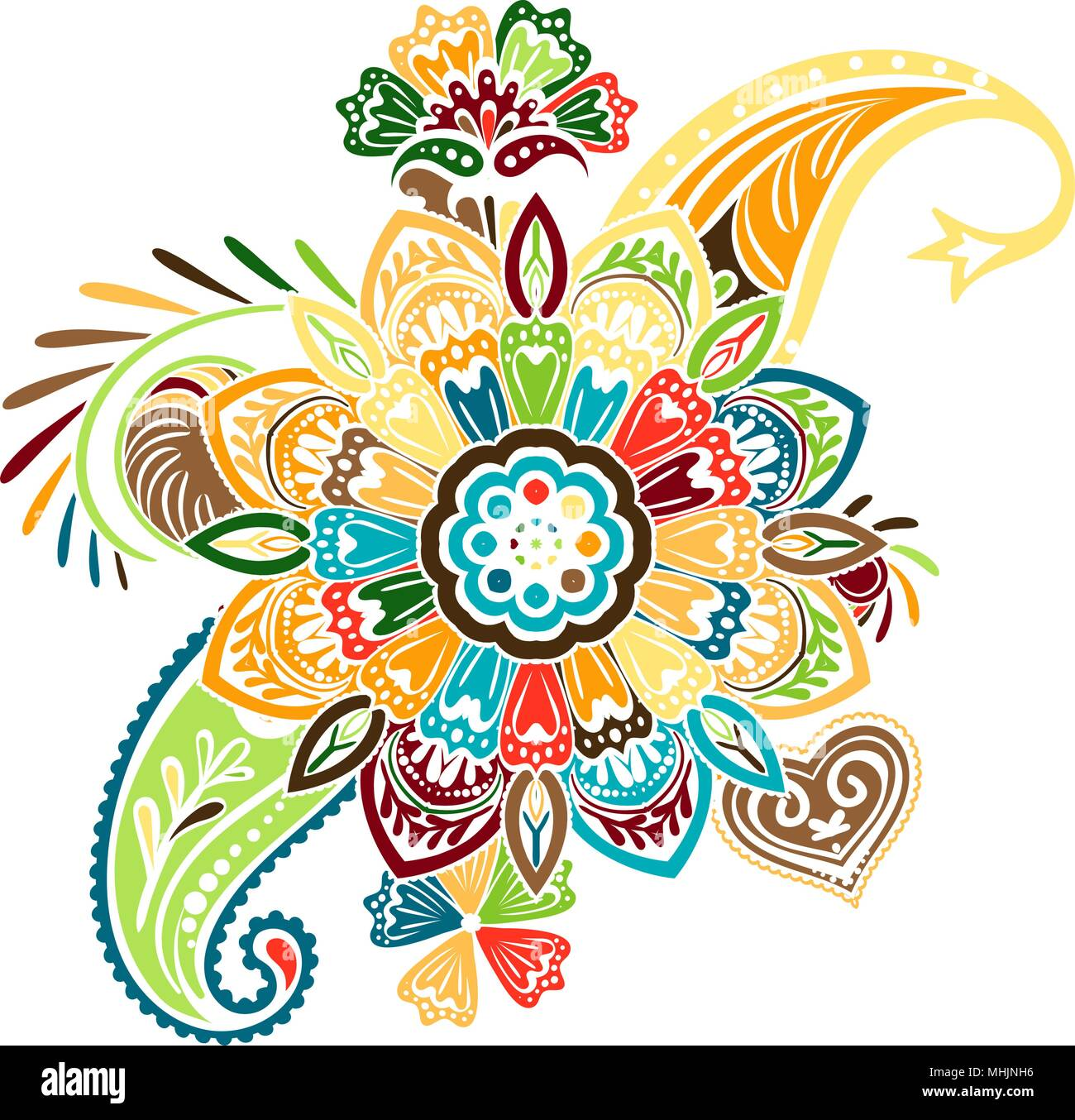 Vector pattern based on traditional asian elements paisley and mandala - Stock Image