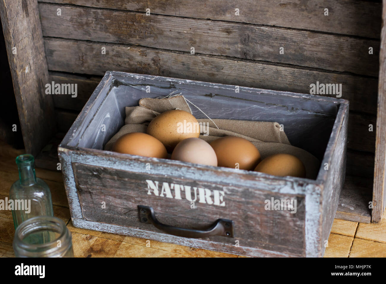Brown Chicken Eggs In Old Wooden Box Home Farm Stock Photo