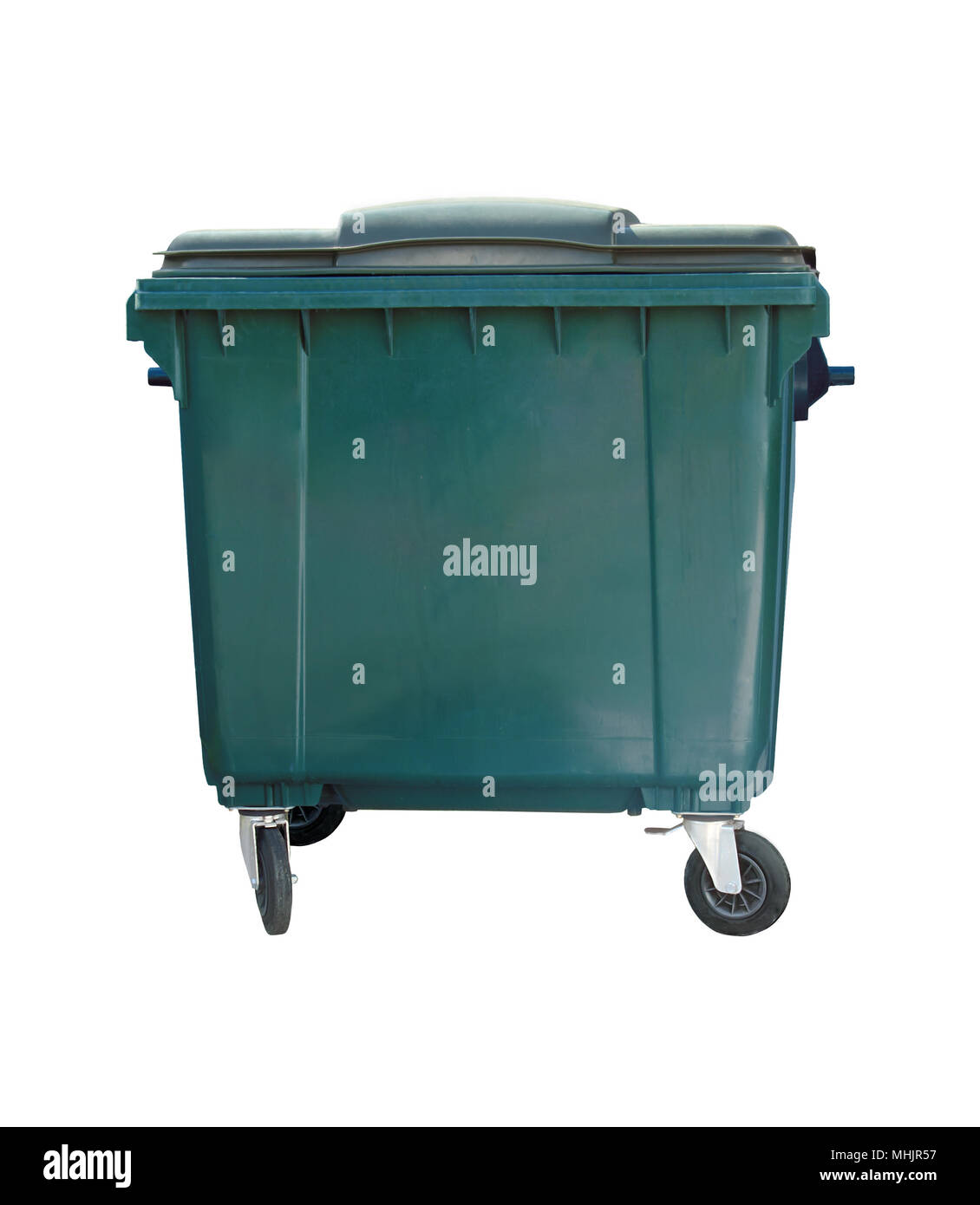 closed green garbage container isolated on white background - Stock Image