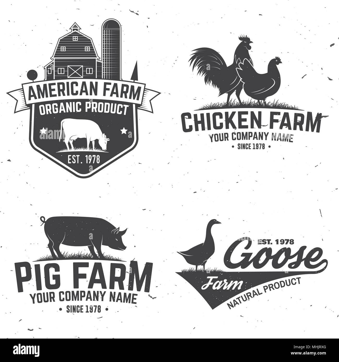 Chicken Farm Badge or Label. Vector illustration. - Stock Vector