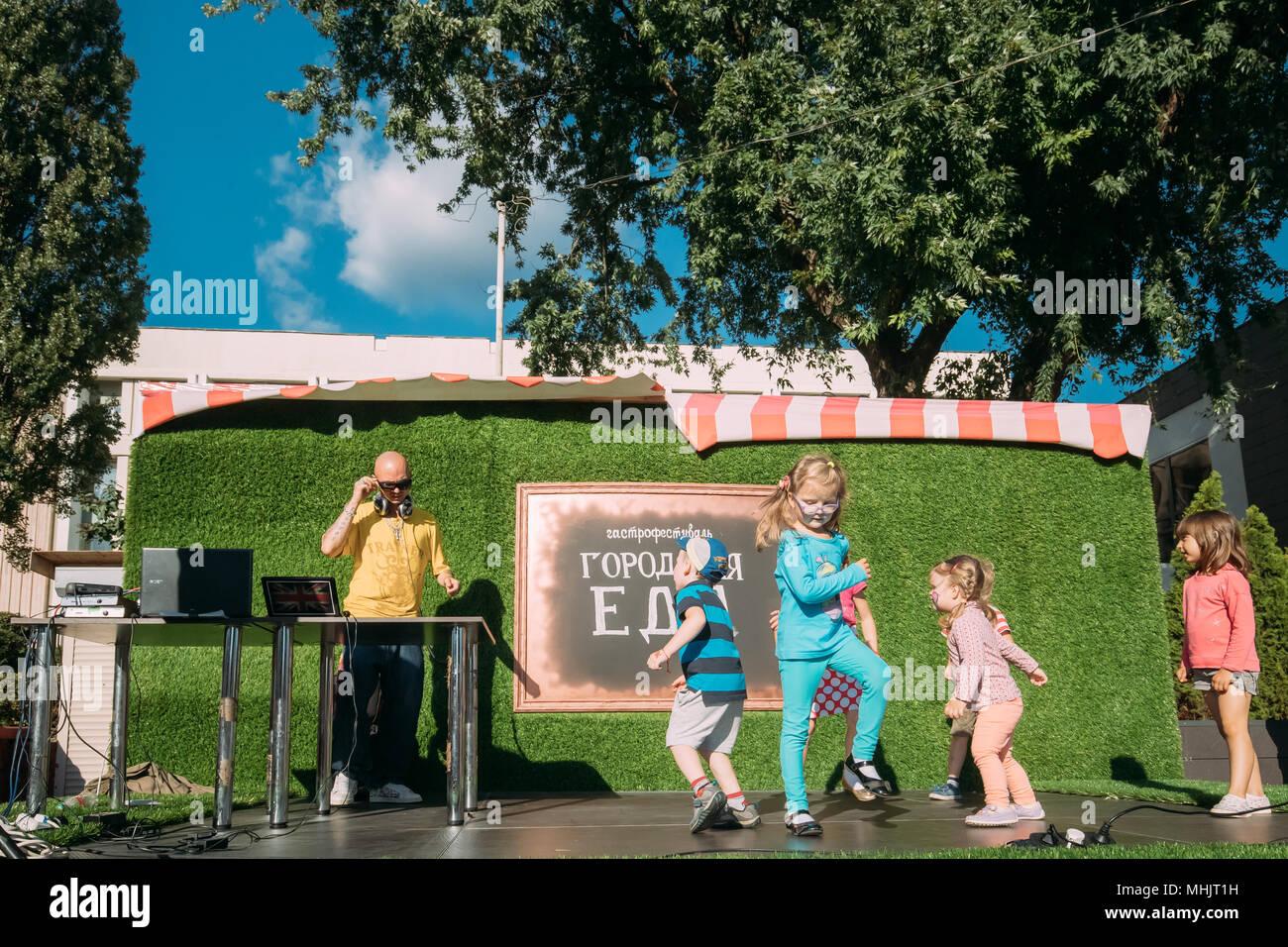 Gomel, Belarus. Children Dancing On Gastronomic Festival City Food In Summer Sunny Day. - Stock Image