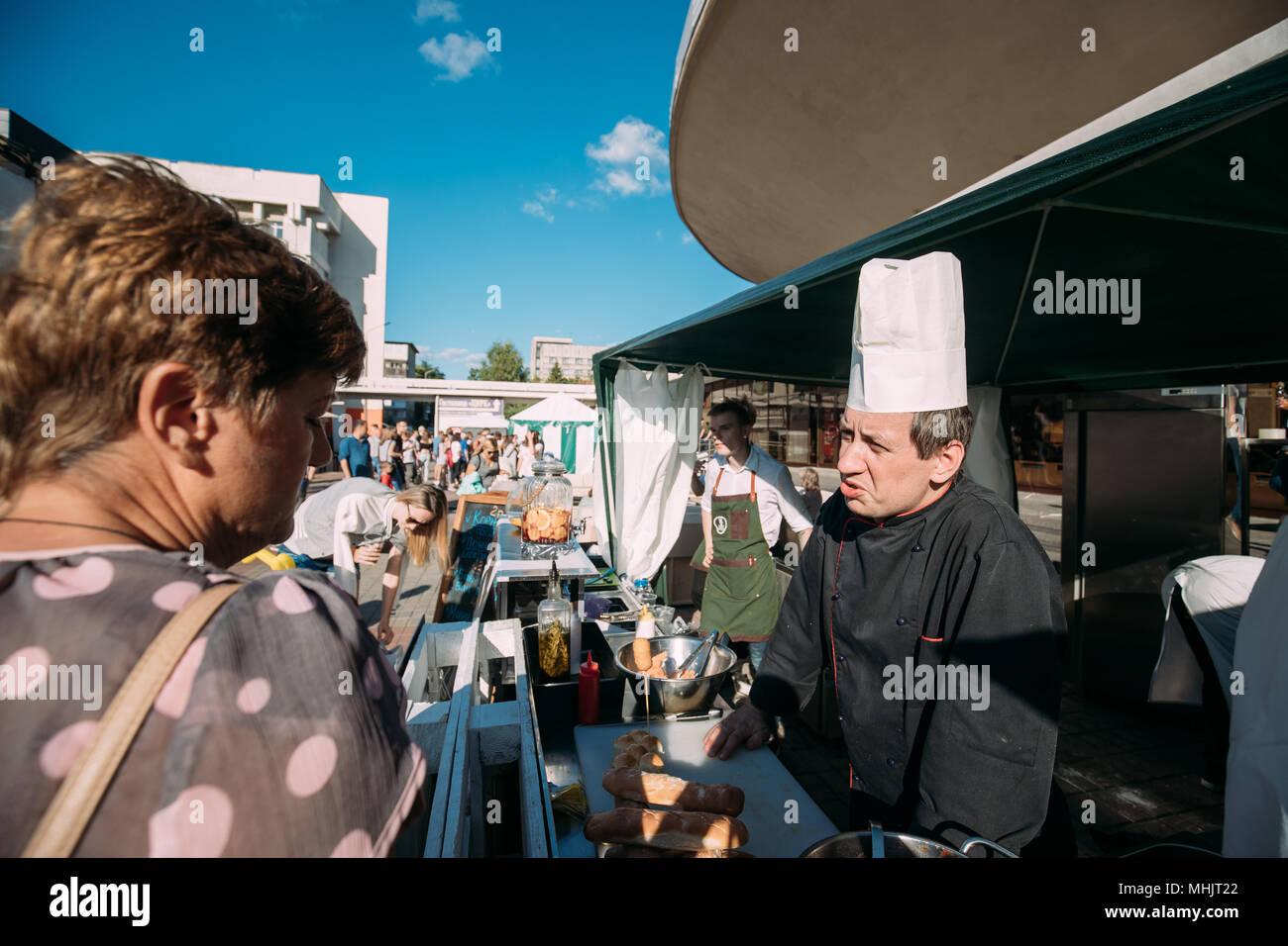 Gomel, Belarus. Gastronomic Festival City Food In Summer Day. - Stock Image