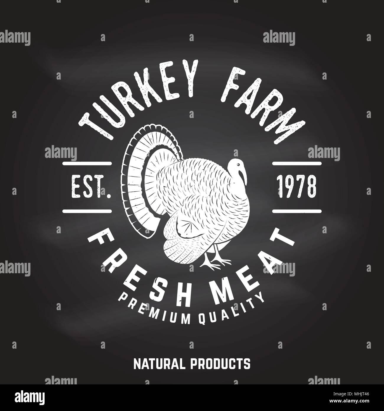 Turkey Farm Badge or Label. - Stock Vector