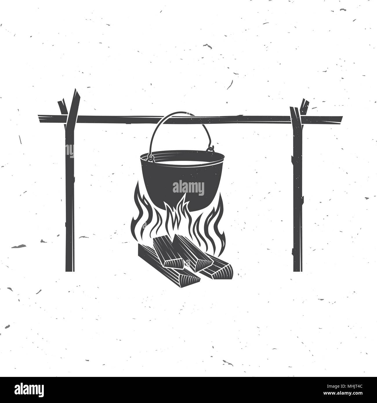 Pot on the fire silhouette. Vector illustration. Stock Vector