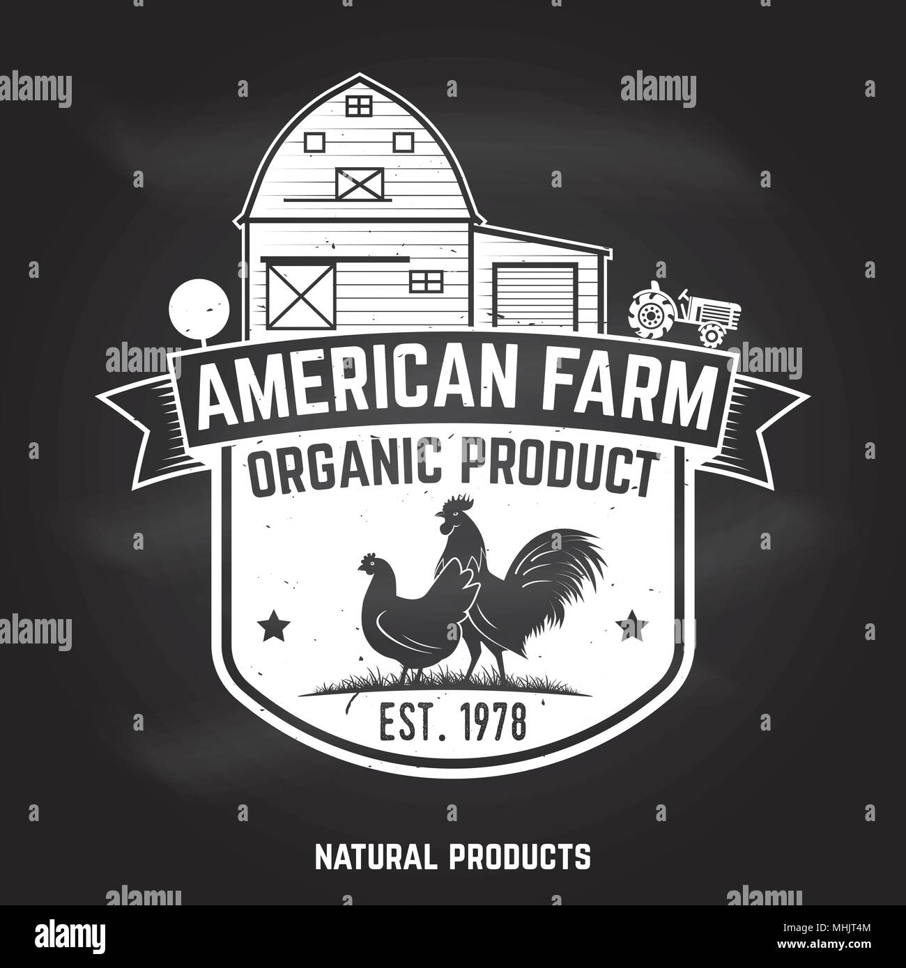 American Farm Badge or Label. Vector illustration. - Stock Vector