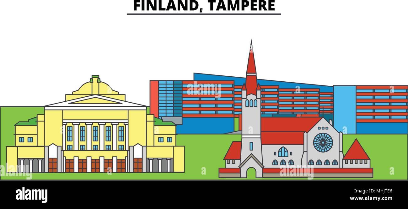Finland, Tampere. City skyline, architecture, buildings, streets, silhouette, landscape, panorama, landmarks. Editable strokes. Flat design line vector illustration concept. Isolated icons - Stock Vector