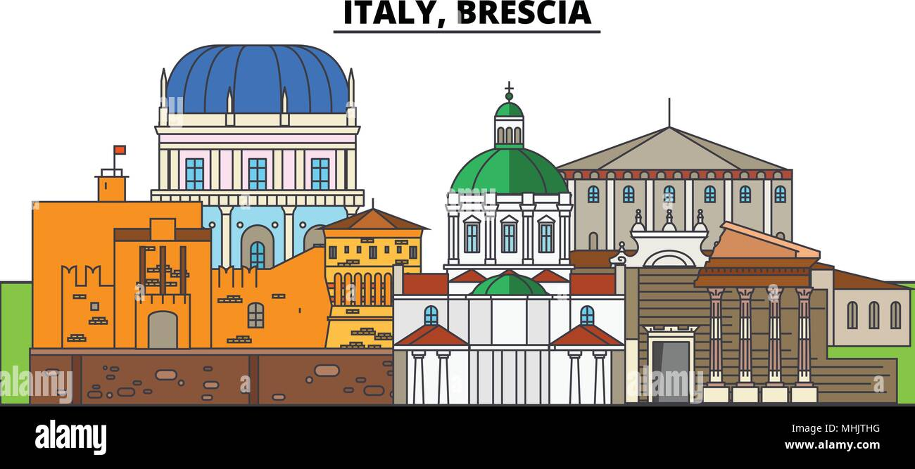 Italy, Brescia. City skyline, architecture, buildings, streets, silhouette, landscape, panorama, landmarks. Editable strokes. Flat design line vector illustration concept. Isolated icons Stock Vector