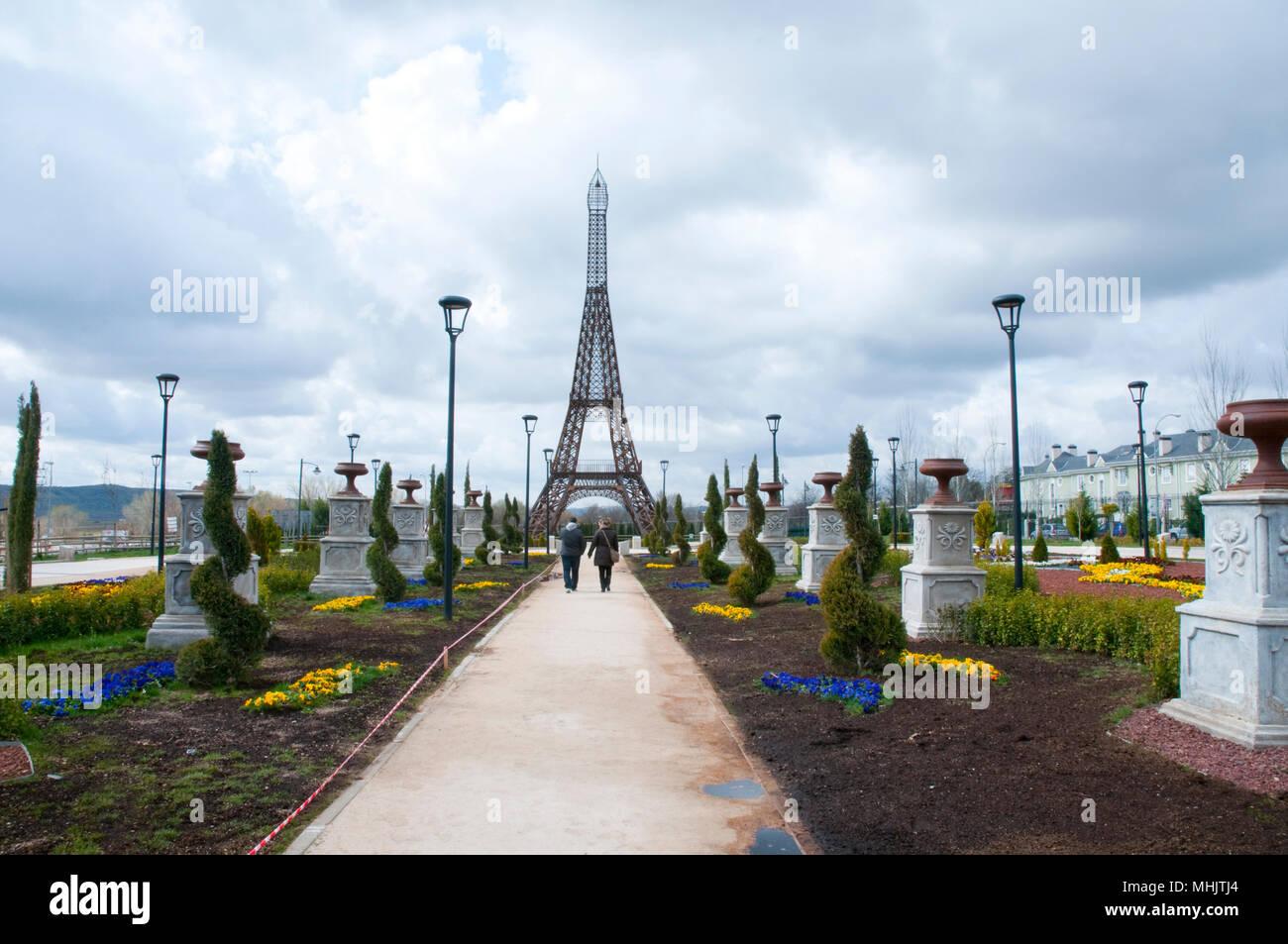 Eiffel Tower in Parque Europa. Torrejon de Ardoz, Madrid province, Spain. - Stock Image