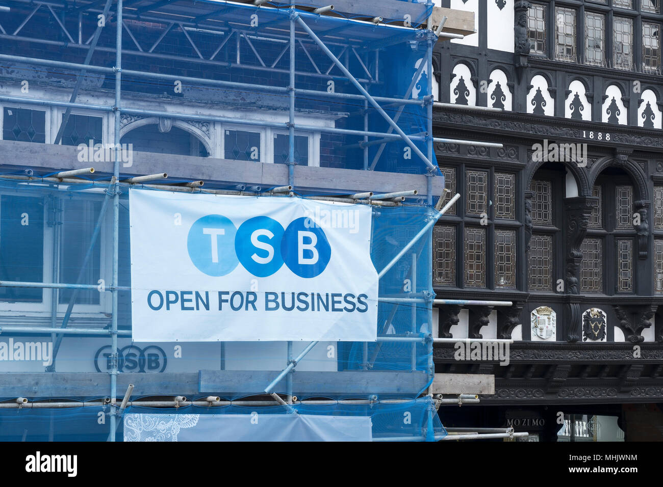 TSB Bank open for business sign on scaffolding - Stock Image