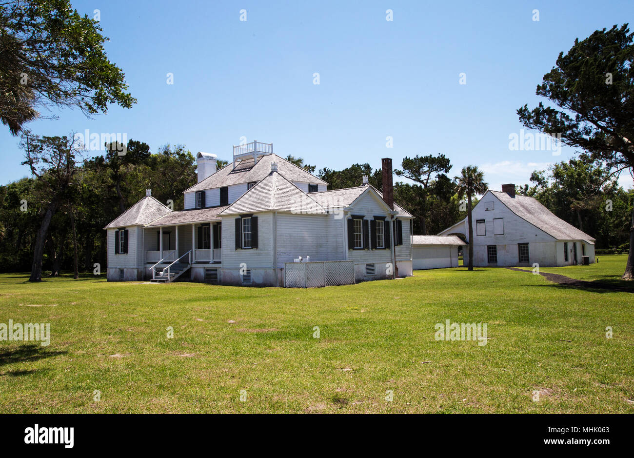 The Kingsley Plantation house in Jacksonville Florida sits on an island in the Fort George River. - Stock Image