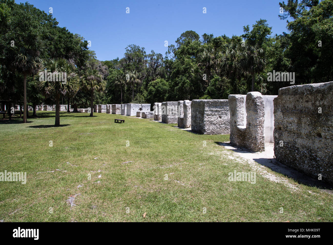 Slave cabins at the Kingsley Plantation at Timucuan Preserve Jacksonville, Florida. They were constructed of an oyster shell concrete called tabby - Stock Image