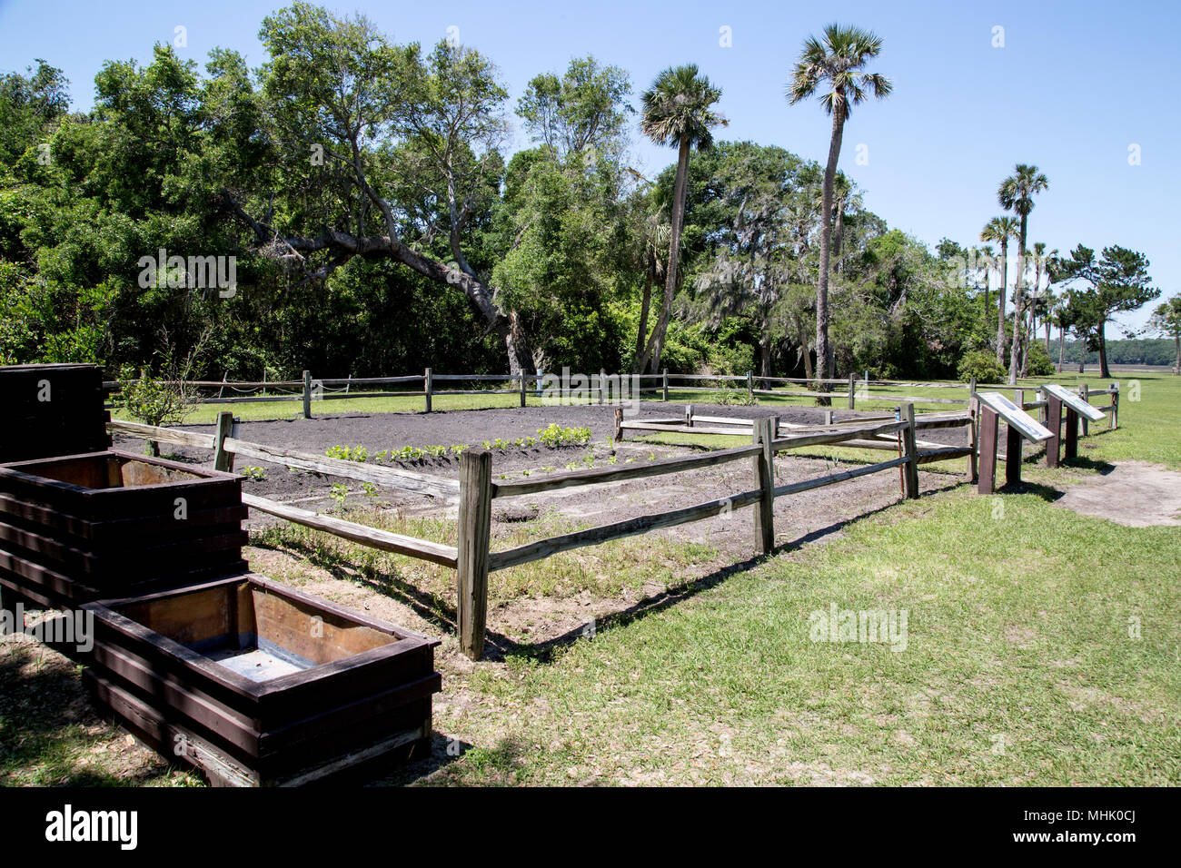 Kingsley Plantation at Timucuan Preserve offers an example of a historically accurate vegetable garden - Stock Image