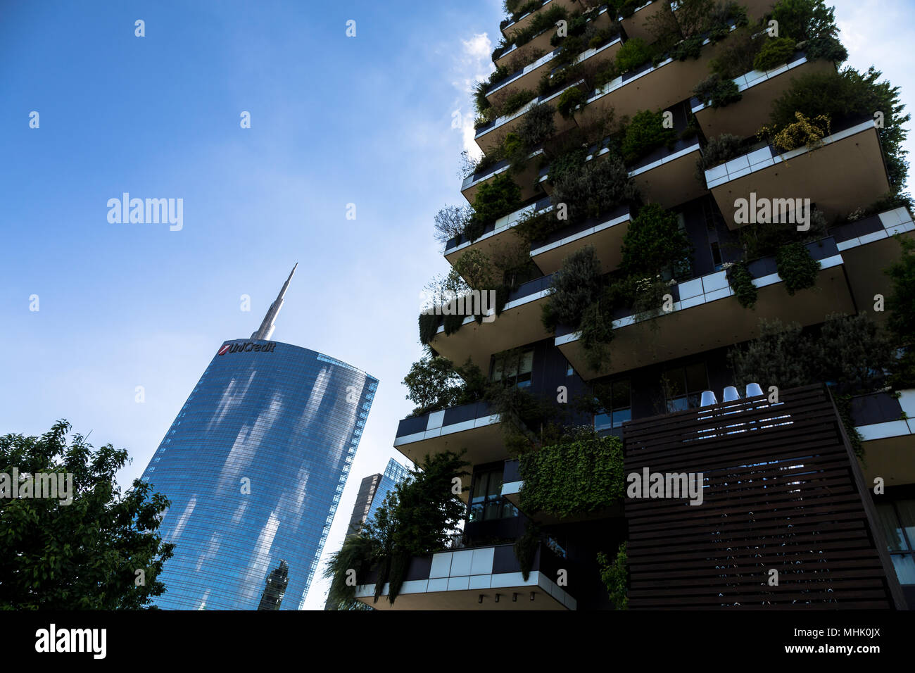 Milan, Italy, Bosco Verticale buildings and Unicredit tower - Stock Image