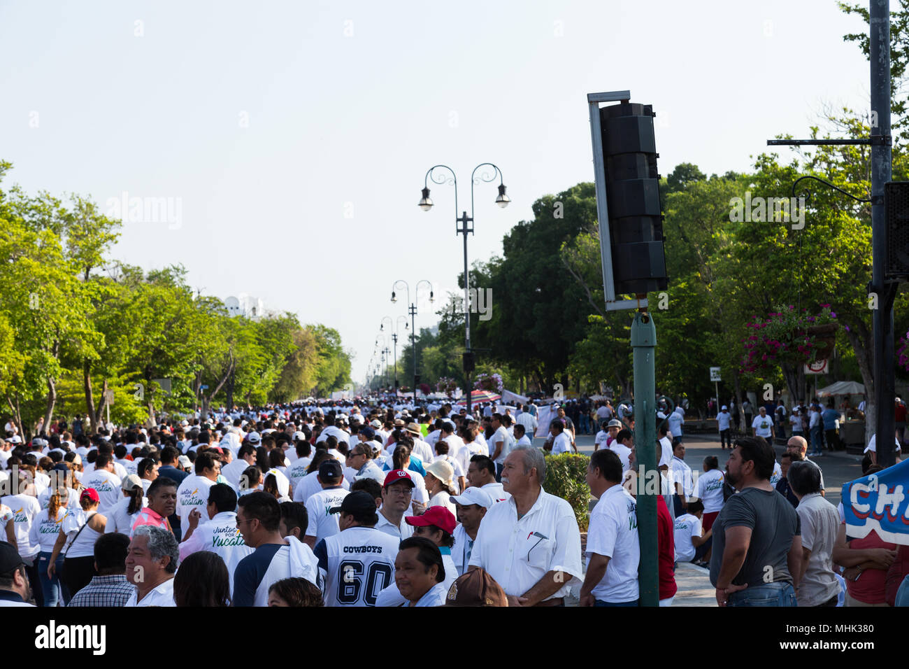 A large group of people celebrating the International Worker's Day on May 1st in Mérida Yucatán México. - Stock Image