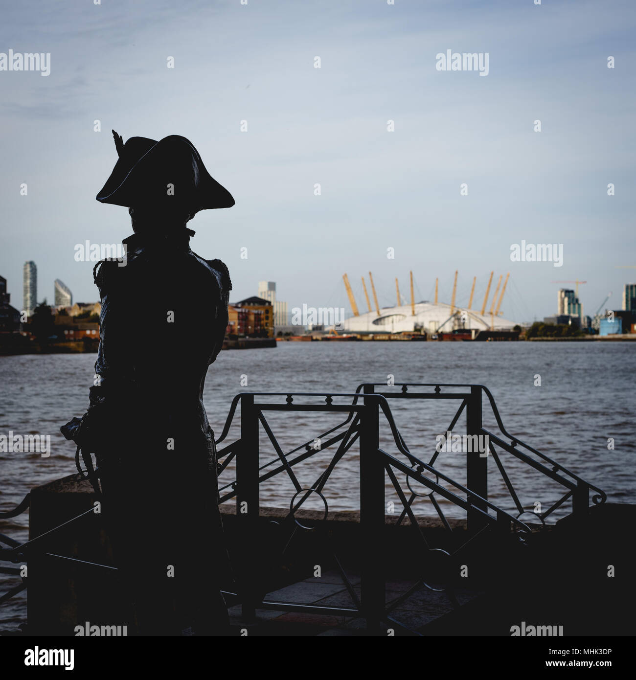 London (UK), September 2017. Statue of Horatio Nelson on the Thames Path in Greenwich. Square format. Stock Photo