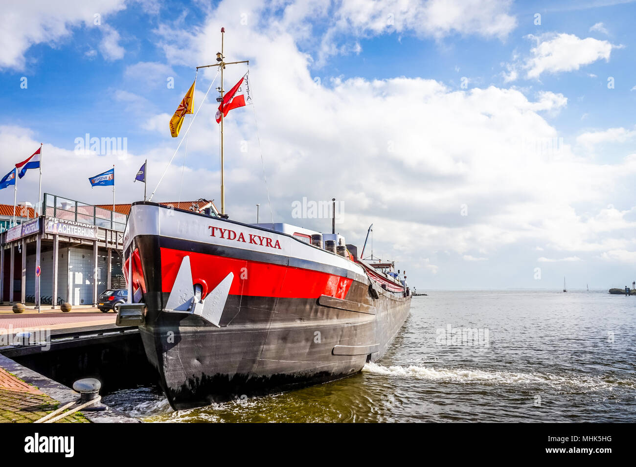 A typical scene of a large Dutch fishing vessel used for deep sea fishing in the North Sea off the coast of the Netherlands. - Stock Image