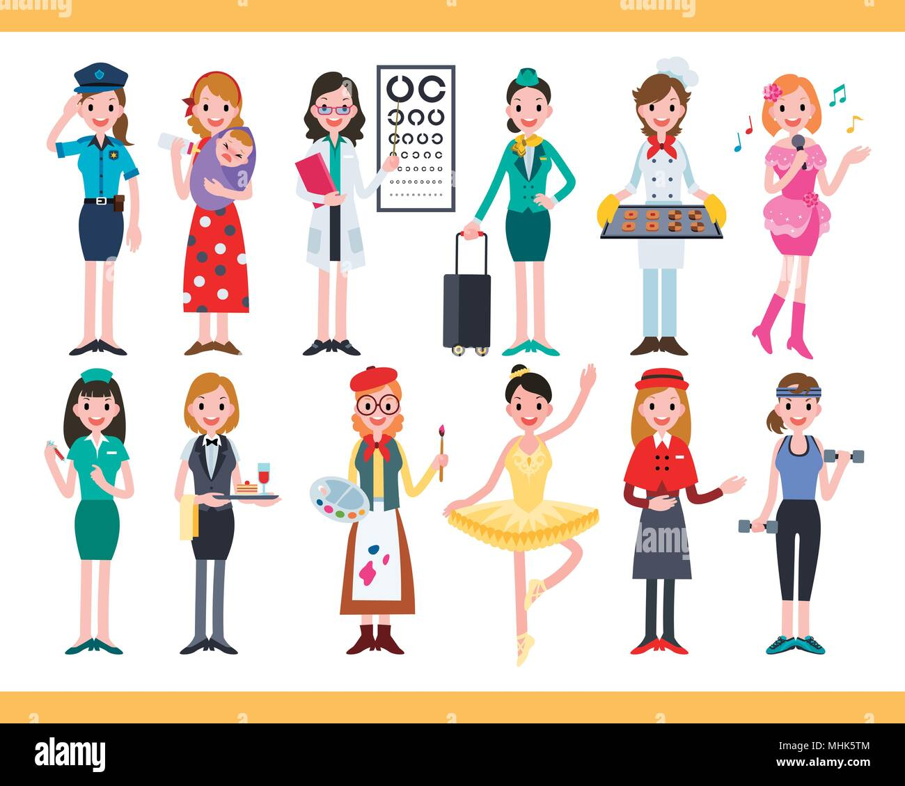 Female in different careers, collection of lovely diverse jobs in flat design - Stock Vector