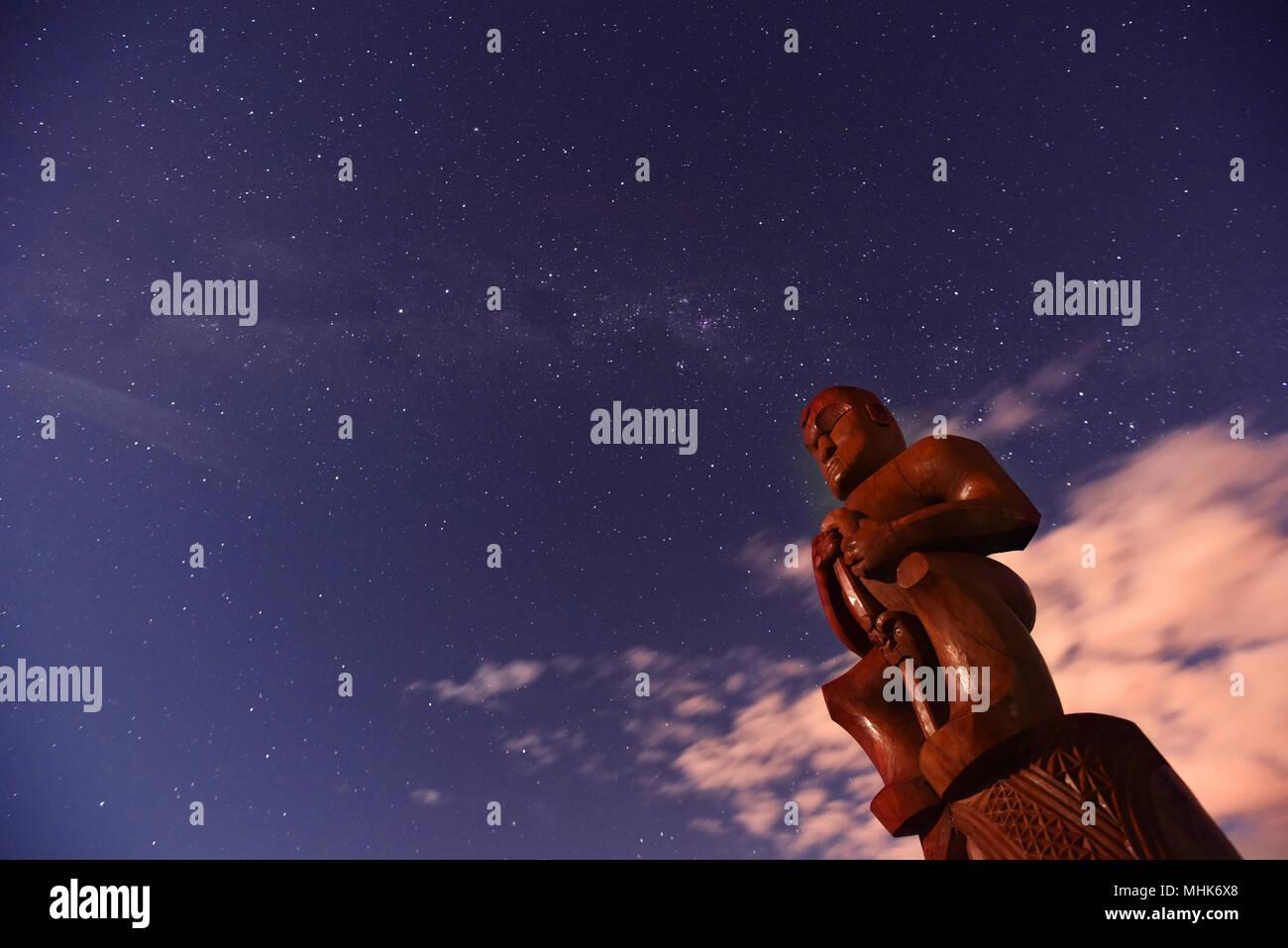 Pou Temara - Waitangi Pou (Maori Culture) - Stock Image