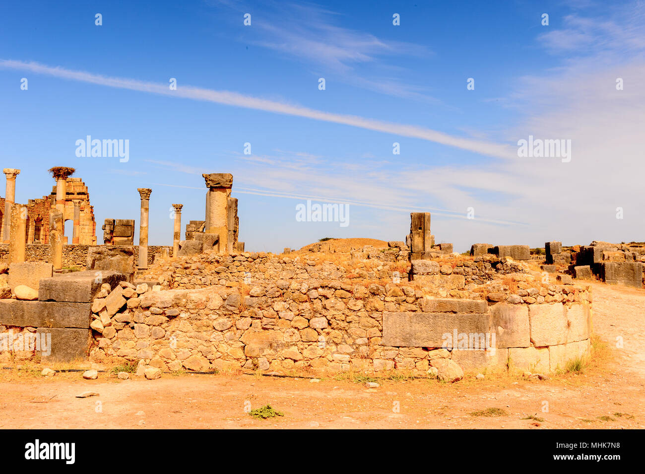Volubilis, an excavated Berber and Roman city in Morocco, ancient capital of the kingdom of Mauretania. UNESCO World Heritage Stock Photo