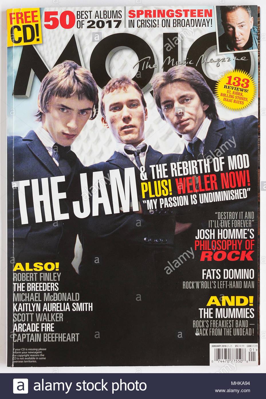 The cover of Mojo Magazine, January 2018 - The Jam - Stock Image