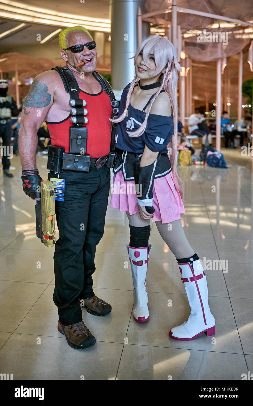 Comic Con and Cosplay man and girl. Bangkok Thailand Southeast Asia - Stock Image