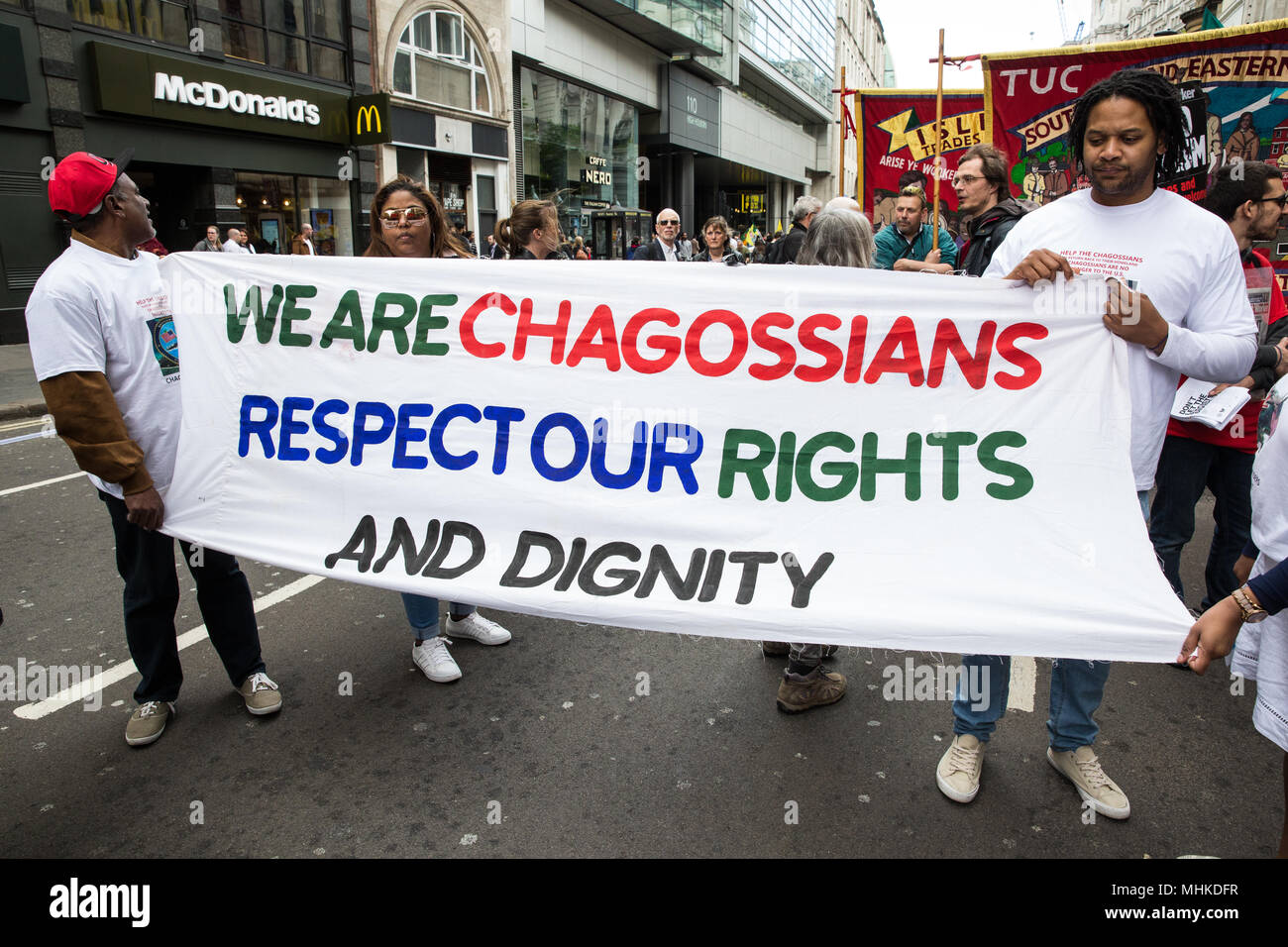 London, UK. 1st May, 2018. Representatives of the Chagos Islands take part in the annual May Day march to mark International Workers' Day. Credit: Mark Kerrison/Alamy Live News - Stock Image