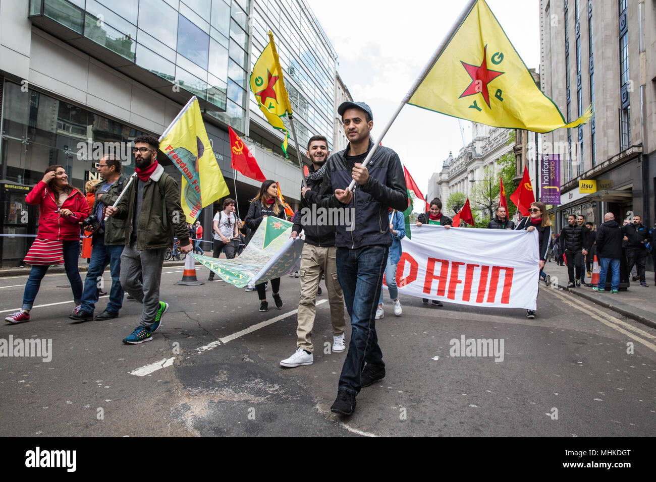 London, UK. 1st May, 2018. Kurds with YPG flags take part in the annual May Day march to mark International Workers' Day. Credit: Mark Kerrison/Alamy Live News - Stock Image