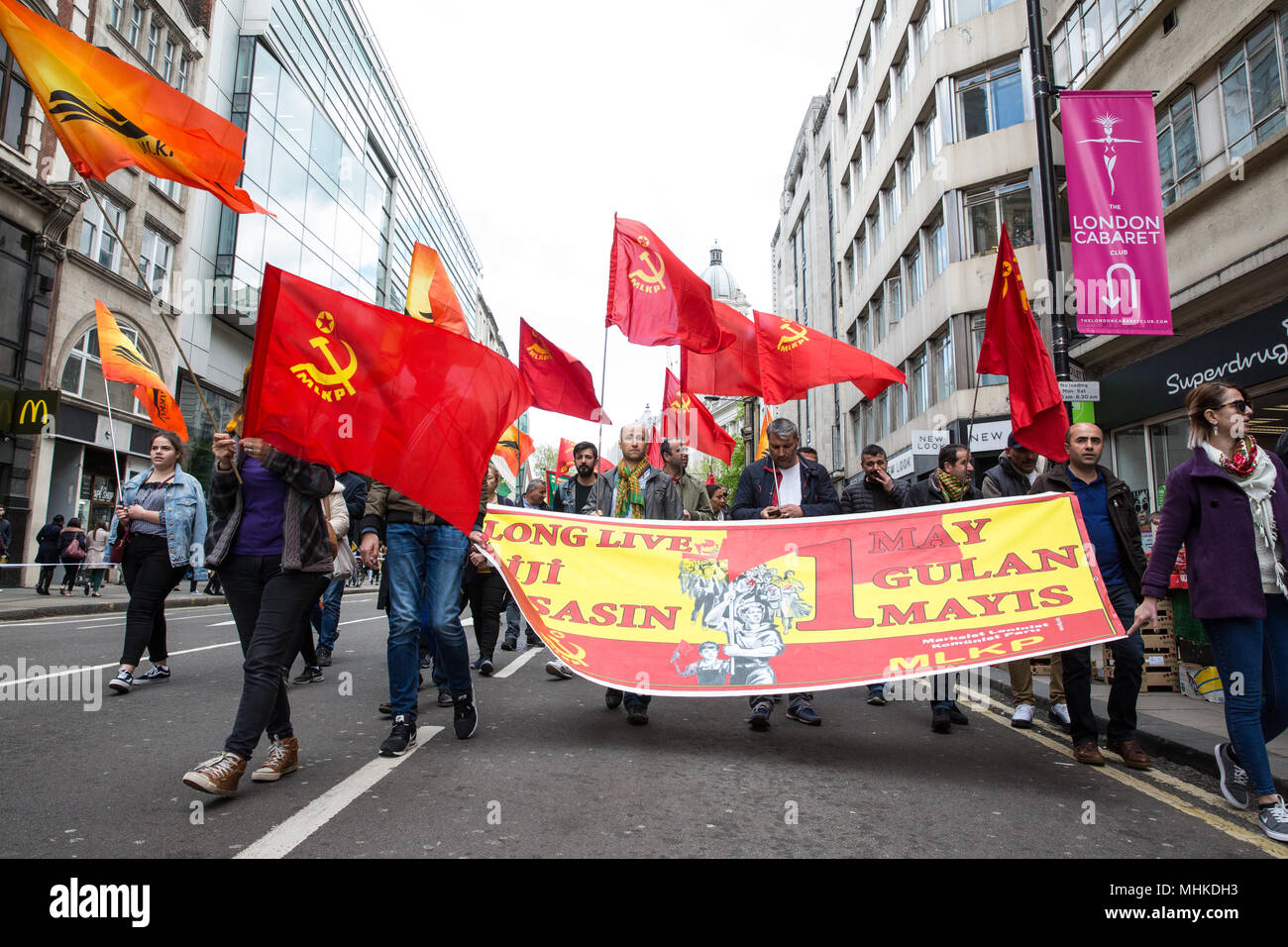 London, UK. 1st May, 2018. Supporters of the Turkish Communist Party take part in the annual May Day march to mark International Workers' Day. Credit: Mark Kerrison/Alamy Live News - Stock Image