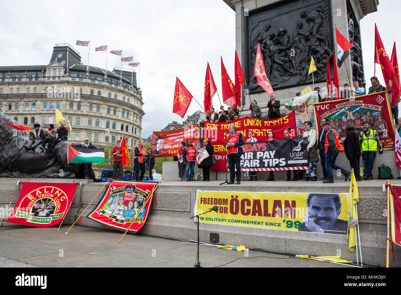 London, UK. 1st May, 2018. Tony Lennon of the London May Day Organising Committee addresses representatives of trade unions and socialist and communist parties from many different countries taking part in the annual May Day rally in Trafalgar Square to mark International Workers' Day. Credit: Mark Kerrison/Alamy Live News Stock Photo