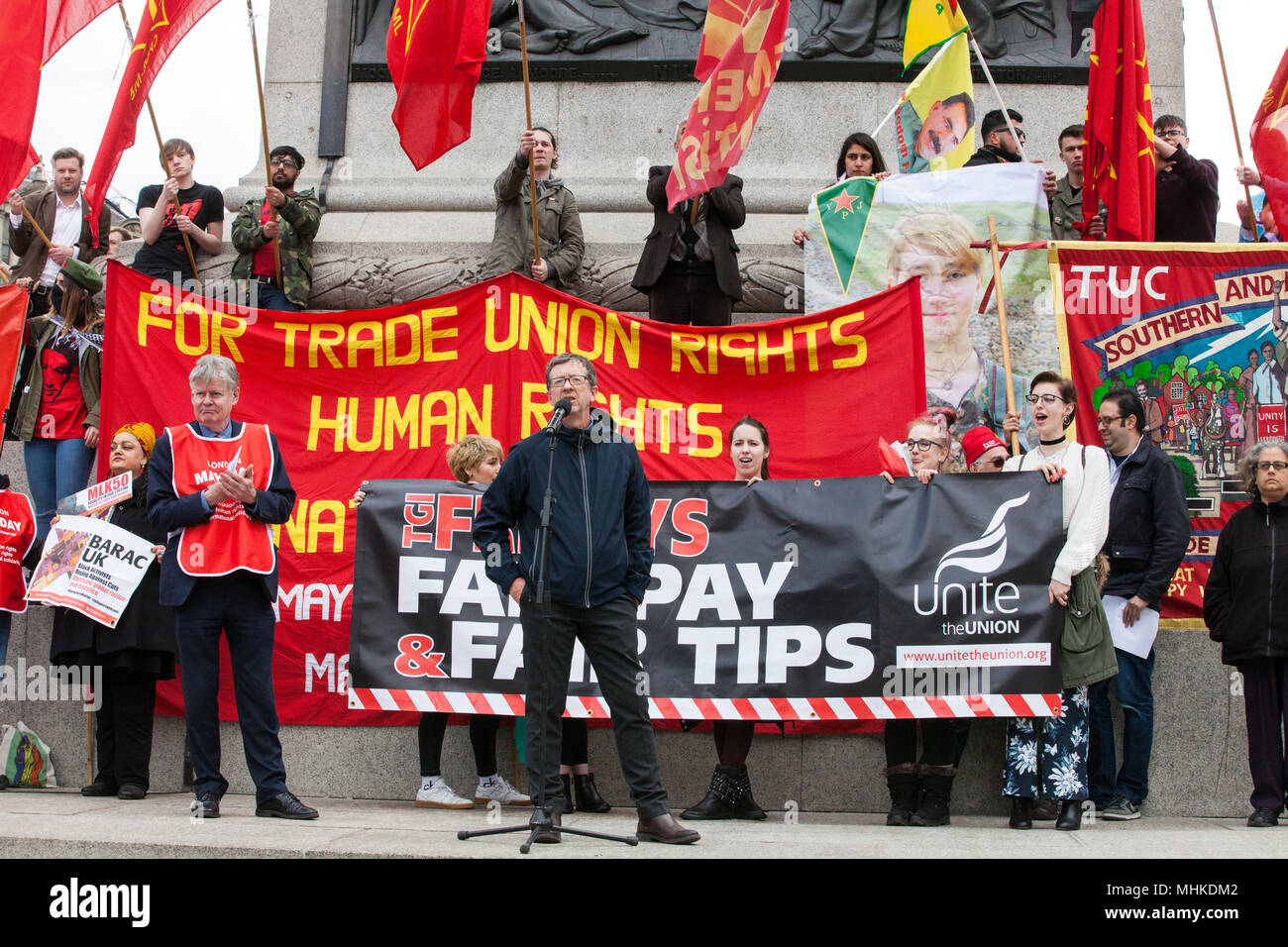 London, UK. 1st May, 2018. Peter Kavanagh of Unite addresses representatives of trade unions and socialist and communist parties from many different countries taking part in the annual May Day rally in Trafalgar Square to mark International Workers' Day. Credit: Mark Kerrison/Alamy Live News - Stock Image