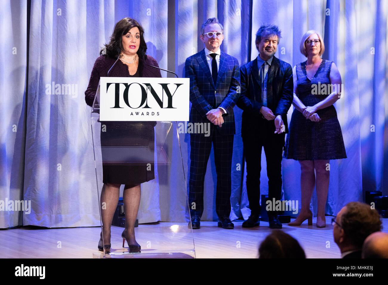 Charlotte St. Martin, President of The Broadway League, speaking at the Tony Awards nominations announcements in New York City. - Stock Image