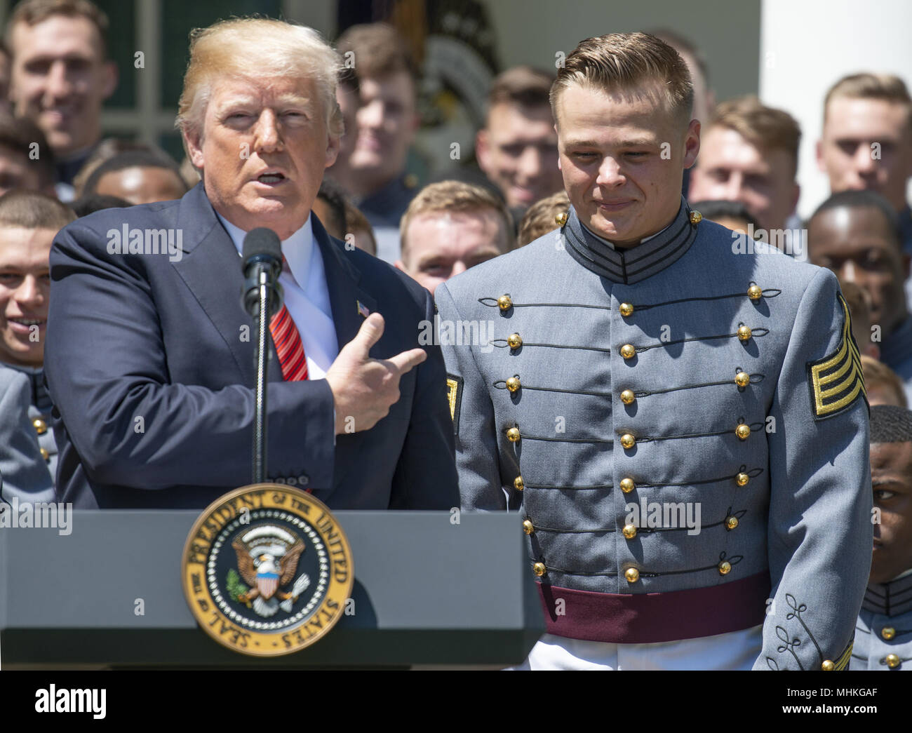 77161a560 United States President Donald J. Trump recognizes defensive lineman and co-Captain  John Voit