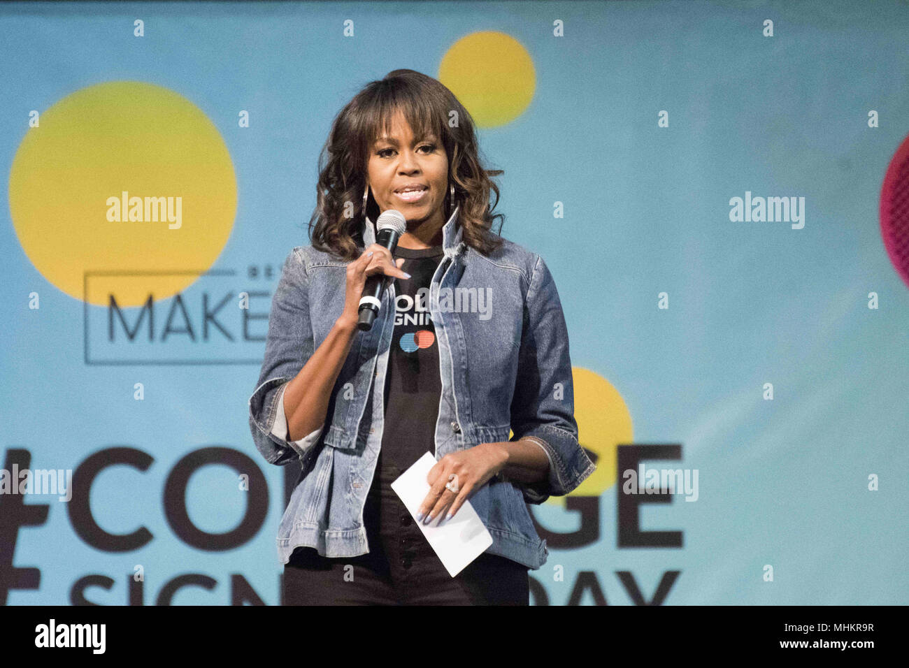 Philadelphia, Pennsylvania, USA. 2nd May, 2018. Former FLOTUS, MICHELLE OBAMA, at the College signing day rally at Temple University's Liacouras Center in Philadelphia Pennsylvania Credit: Ricky Fitchett/ZUMA Wire/Alamy Live News Stock Photo