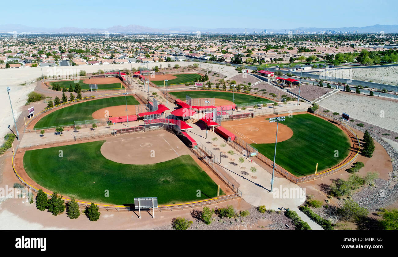 Aerial drone photography of a recreational baseball field with six parks. - Stock Image