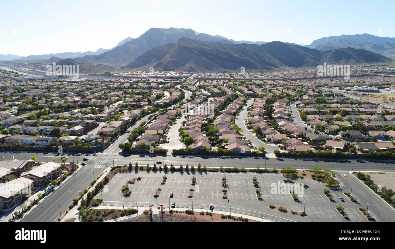 An aerial  view of the Las Vegas suburbs - Stock Image