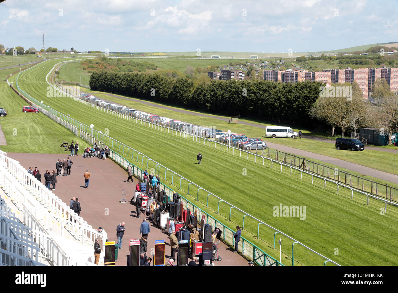 Sunny May afternoon at Brighton Racecourse Stock Photo