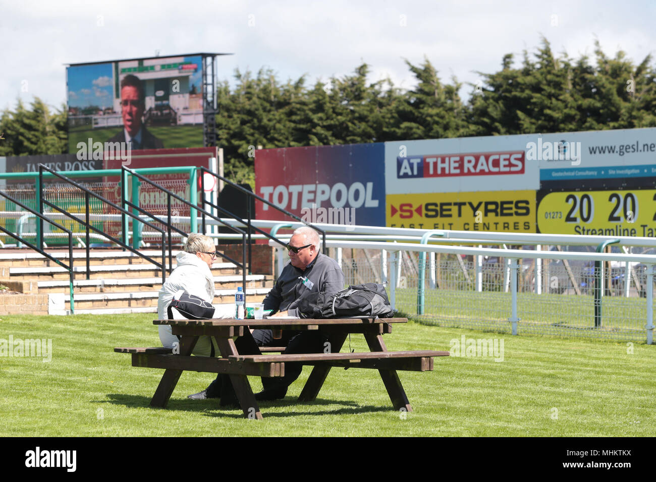 Sunny May afternoon at Brighton Racecourse - Stock Image