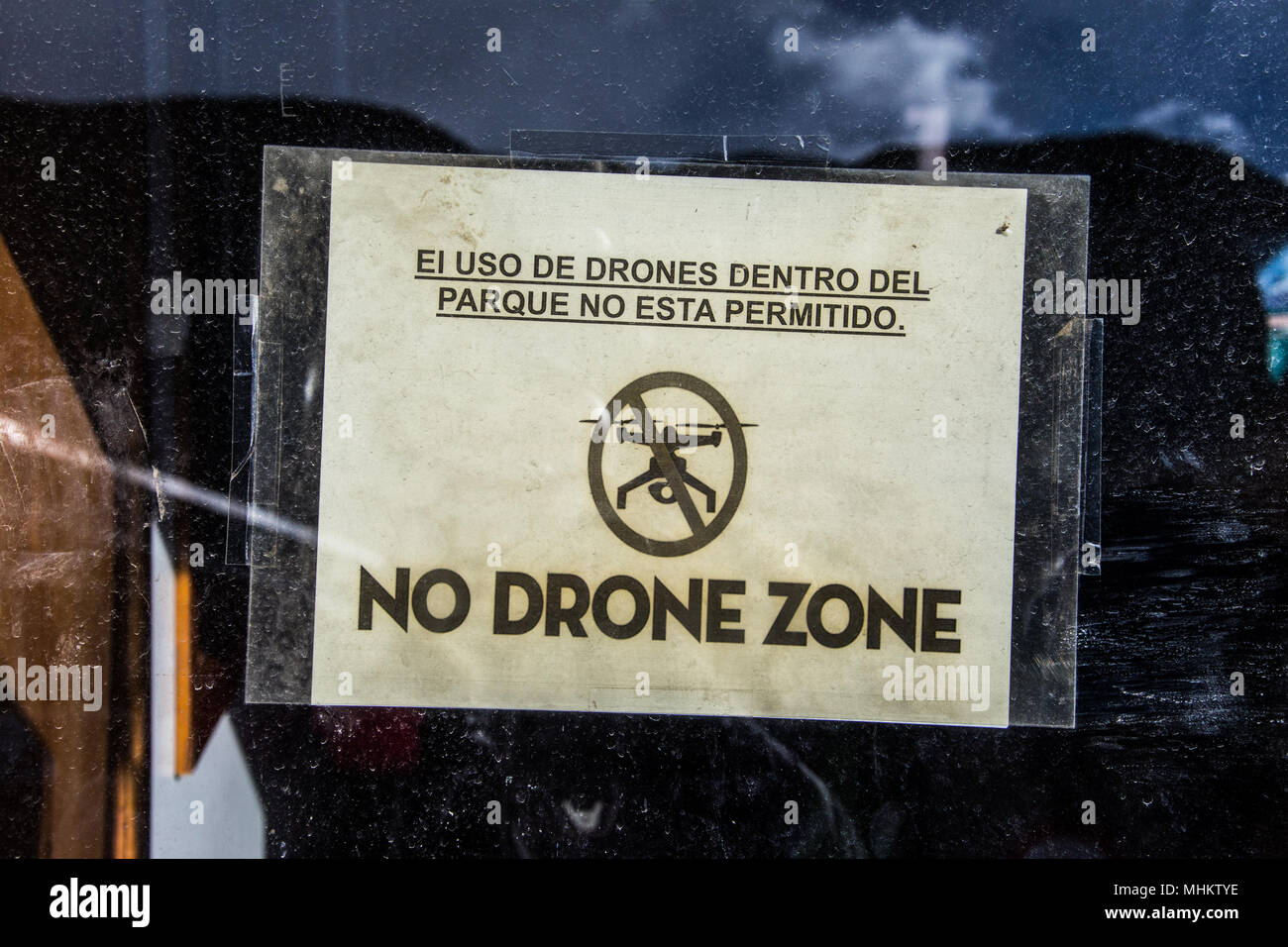 No Drone Zone sign, Porteria Laguna Amarga, access point to Torres del Paine National Park, Patagonia, Chile Stock Photo