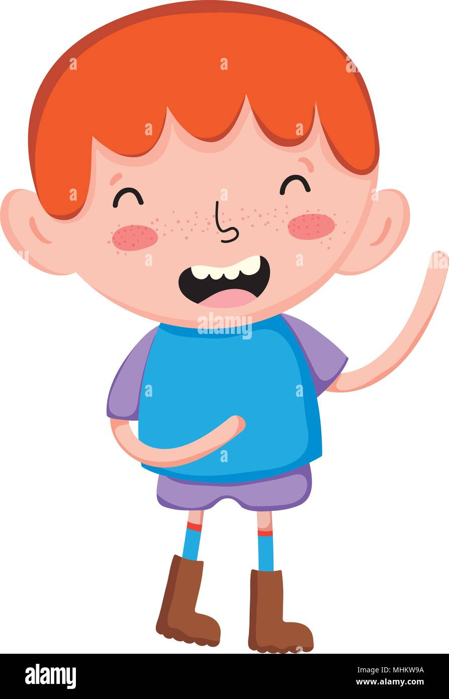 Happy Child Boy Hairstyle With Casual Clothes Stock Vector Art