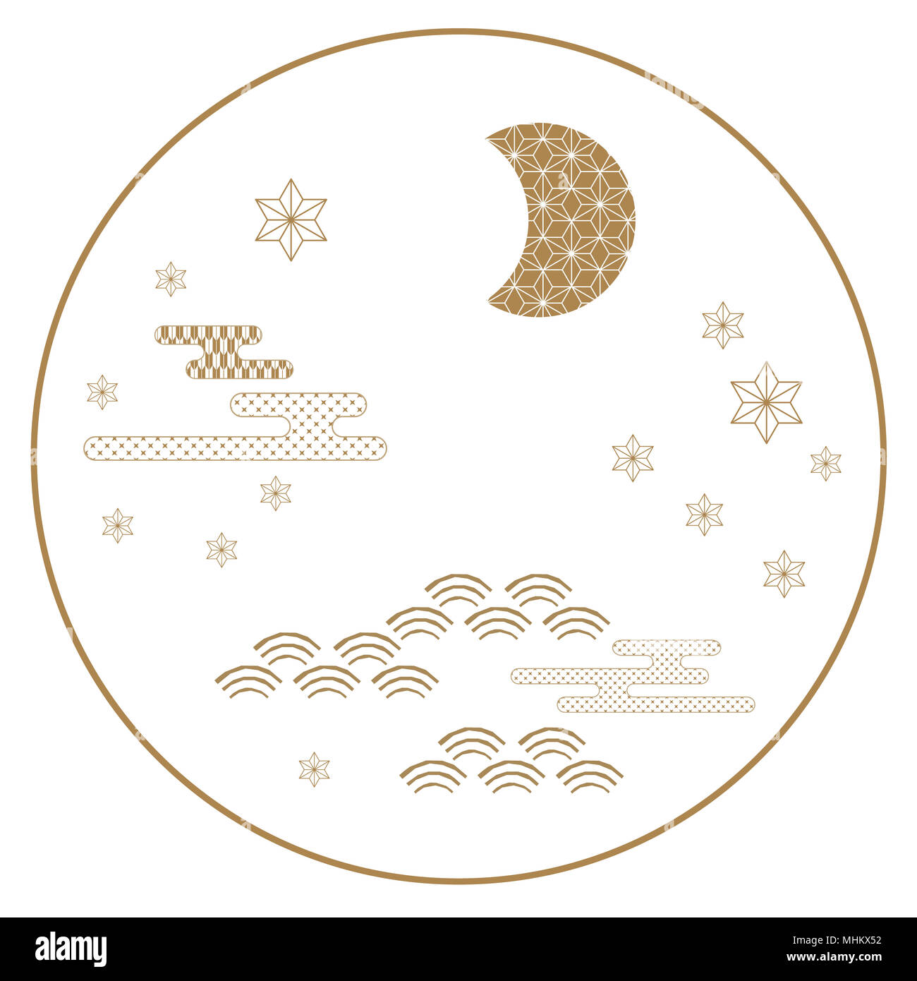 Japanese icon vector gold symbol background such as moon star gold symbol background such as moon star wave cloud for card poster postcard templatecover design maxwellsz