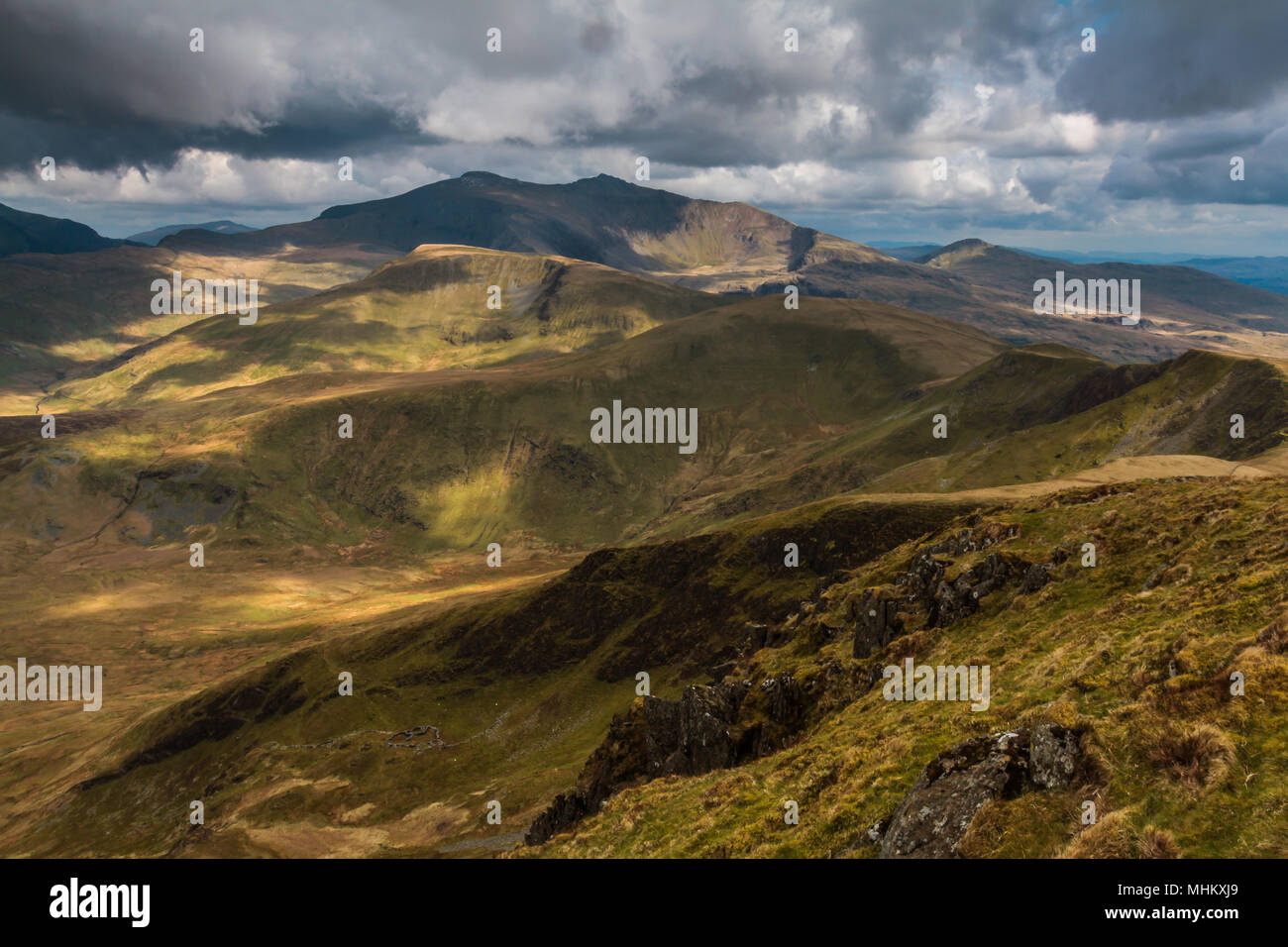 Snowdon massif from Moel Eilio, Wales, Stock Photo