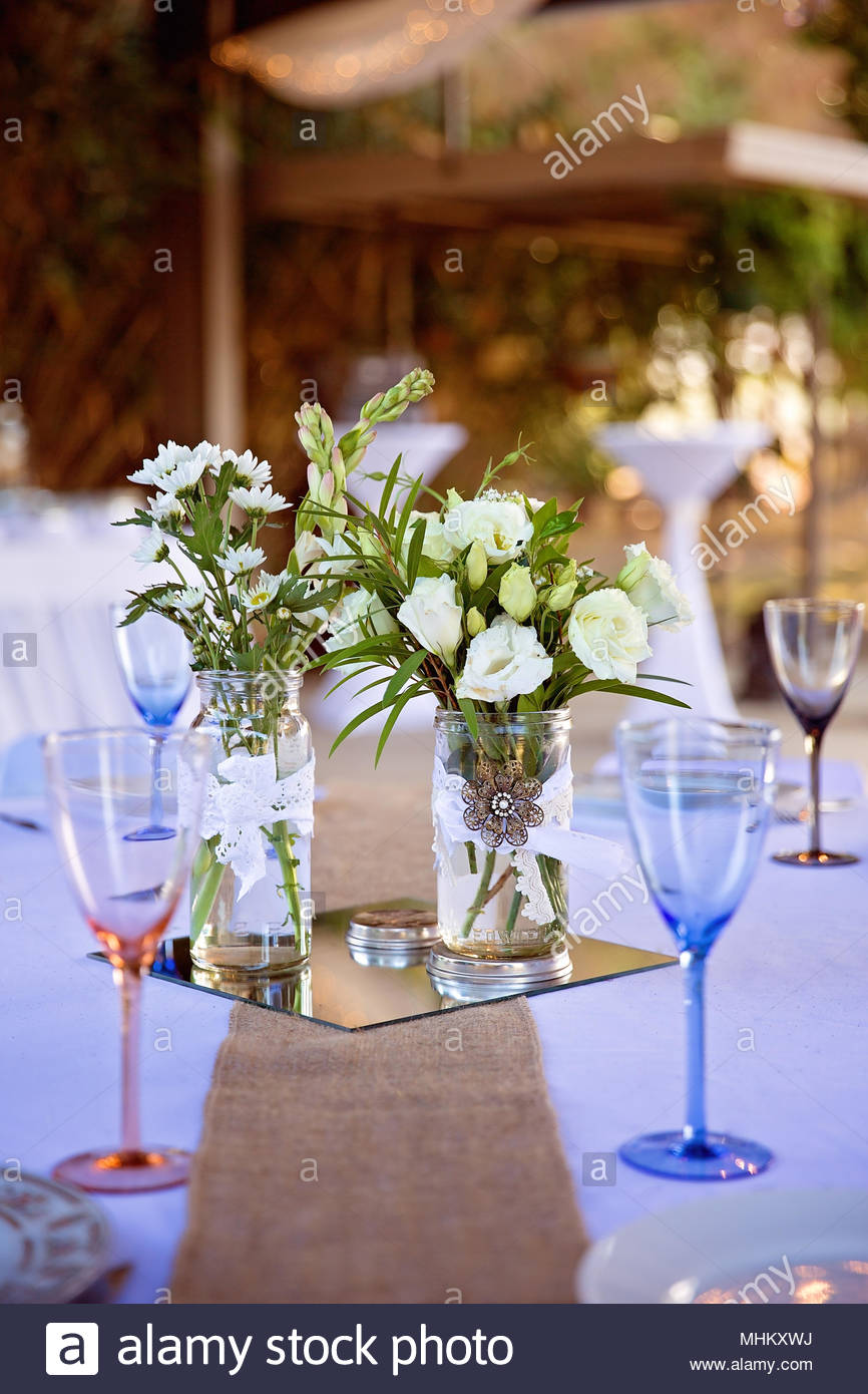 Table Setting For An Outdoor Wedding Reception & Table Setting For An Outdoor Wedding Reception Stock Photo ...