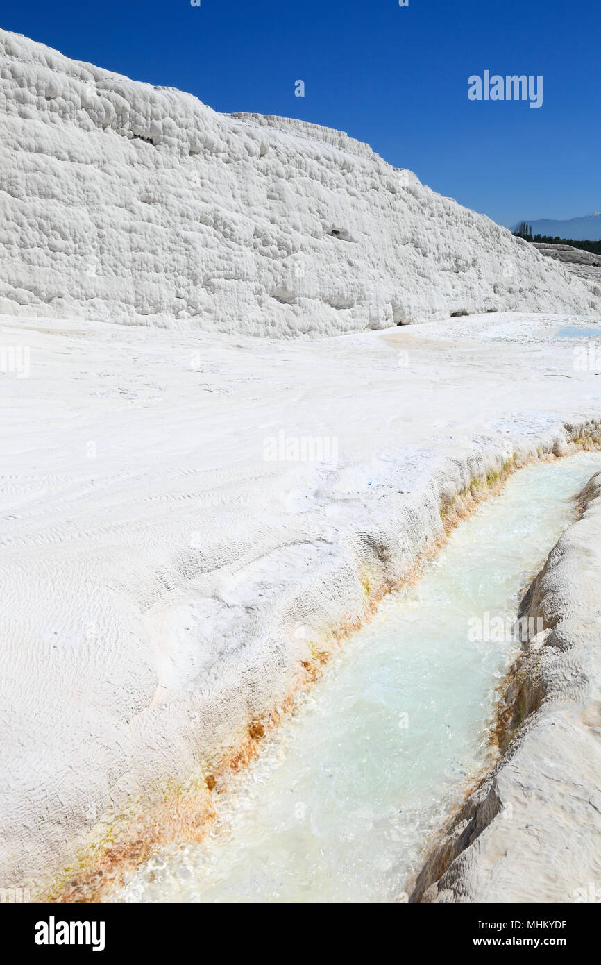 Pamukkale - Calcium deposits from natural thermal springs, Turkey - Stock Image