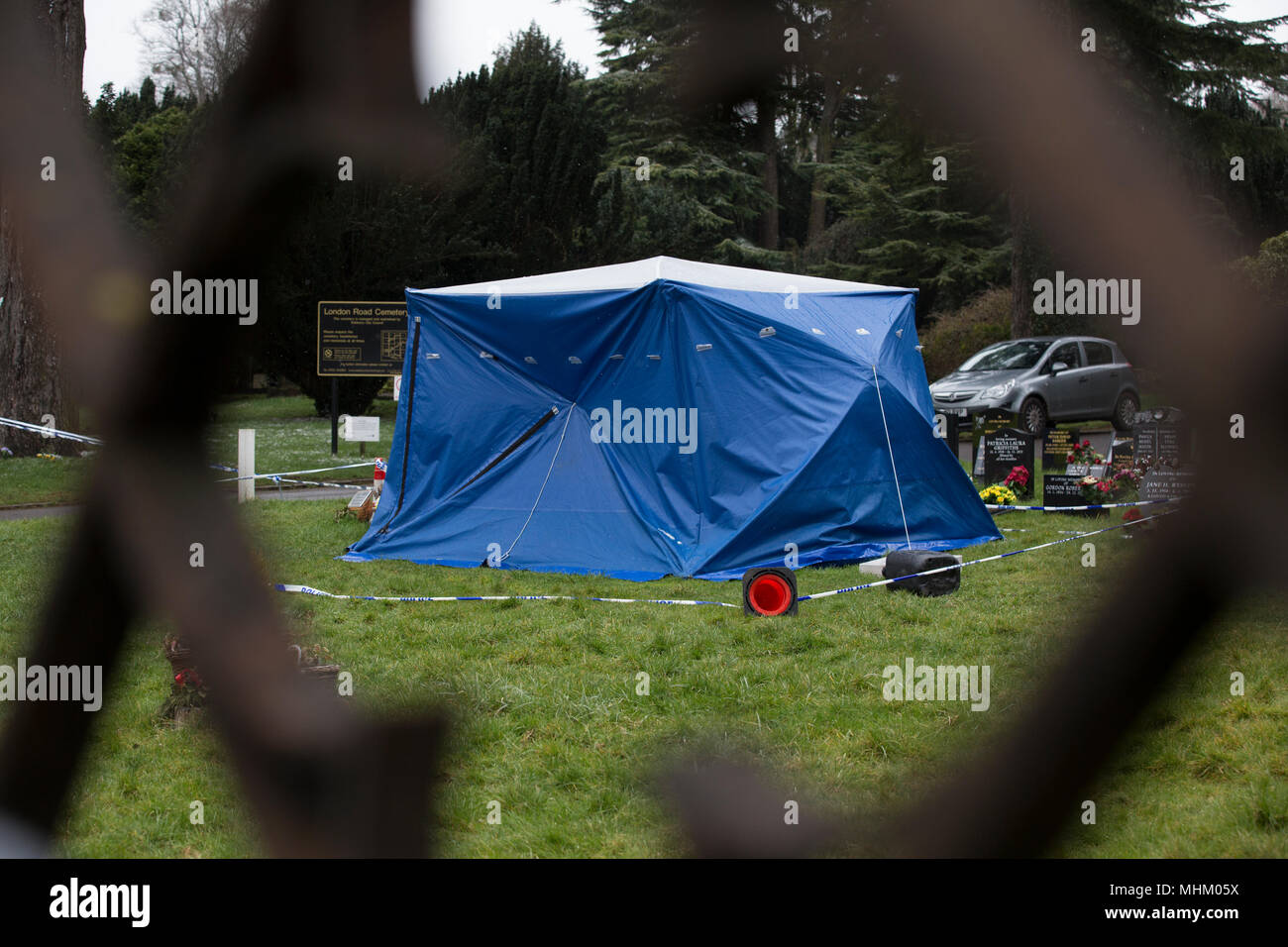 Salisbury Cemetery where Sergei Skripal's wife was buried on Devizes Road, chemical forensics investigate after the nerve agent attack in Salisbury UK - Stock Image